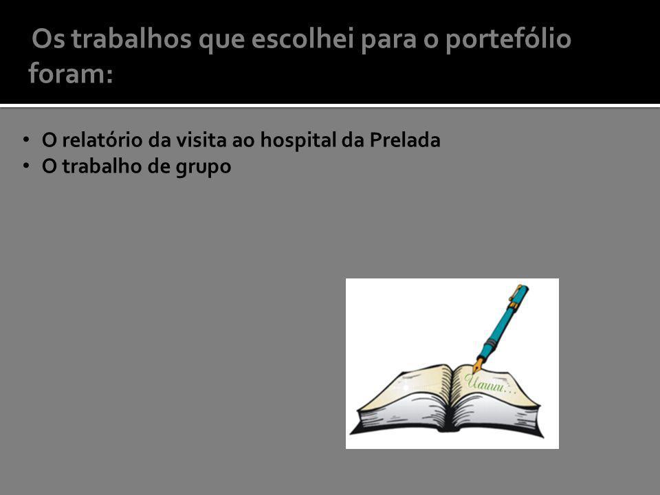 Os trabalhos que escolhei para o portefólio foram: O relatório da visita ao hospital da Prelada O trabalho de grupo