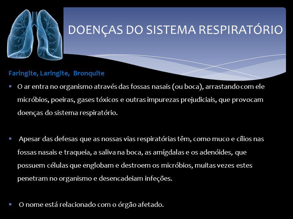 DOENÇAS DO SISTEMA RESPIRATÓRIO Faringite, Laringite, Bronquite O ar entra no organismo através das fossas nasais (ou boca), arrastando com ele micrób