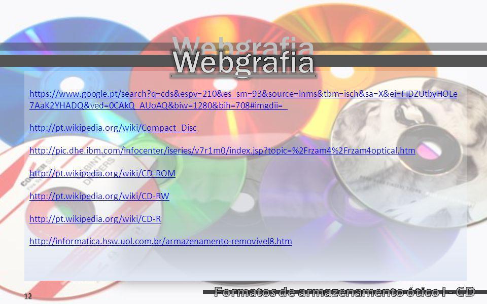 Webgrafia https://www.google.pt/search?q=cds&espv=210&es_sm=93&source=lnms&tbm=isch&sa=X&ei=FIDZUtbyHOLe 7AaK2YHADQ&ved=0CAkQ_AUoAQ&biw=1280&bih=708#imgdii=_ http://pt.wikipedia.org/wiki/Compact_Disc http://pic.dhe.ibm.com/infocenter/iseries/v7r1m0/index.jsp?topic=%2Frzam4%2Frzam4optical.htm http://pt.wikipedia.org/wiki/CD-ROM http://pt.wikipedia.org/wiki/CD-RW http://pt.wikipedia.org/wiki/CD-R http://informatica.hsw.uol.com.br/armazenamento-removivel8.htm12