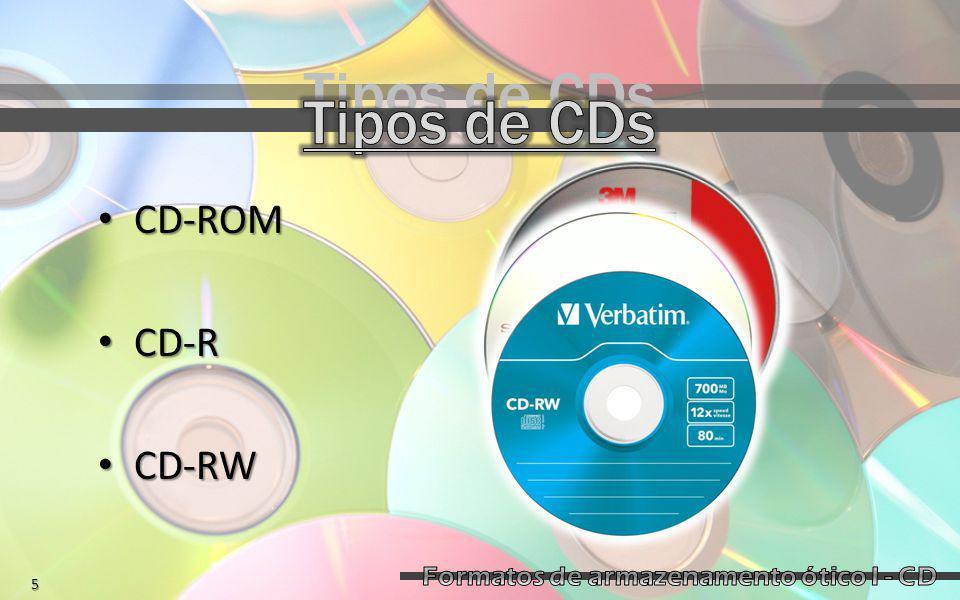 CD-ROM CD-ROM CD-R CD-R CD-RW CD-RW Tipos de CDs 5