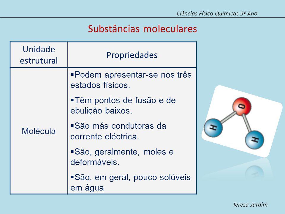 Substâncias moleculares Ciências Físico-Químicas 9º Ano Teresa Jardim Unidade estrutural Propriedades Molécula Podem apresentar-se nos três estados físicos.