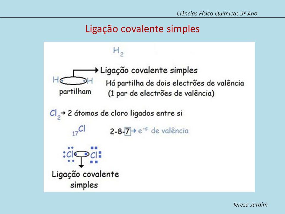 Ligação covalente simples Ciências Físico-Químicas 9º Ano Teresa Jardim