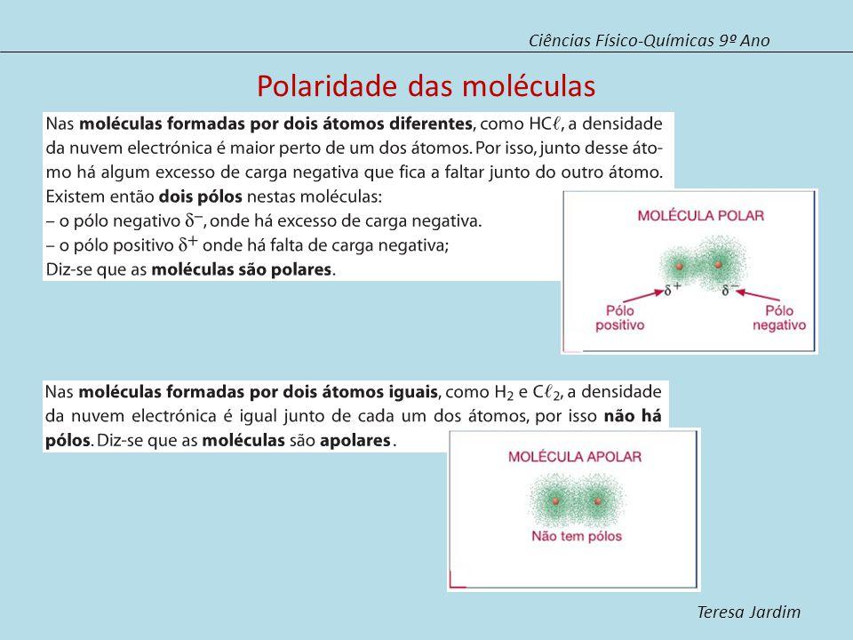Polaridade das moléculas Ciências Físico-Químicas 9º Ano Teresa Jardim