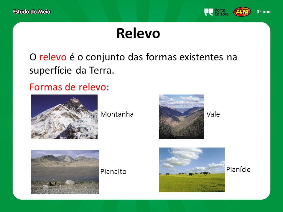 Relevo O relevo é o conjunto das formas existentes na superfície da Terra. Formas de relevo: MontanhaVale Planalto Planície