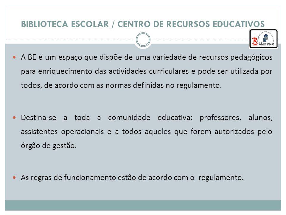 A BE é um espaço que dispõe de uma variedade de recursos pedagógicos para enriquecimento das actividades curriculares e pode ser utilizada por todos,