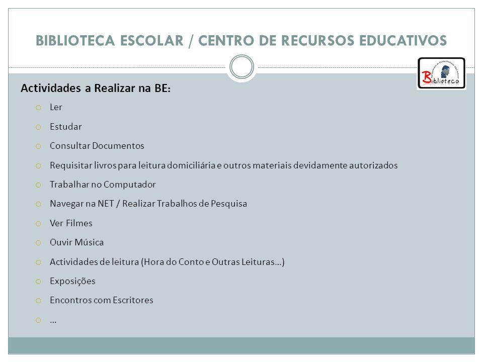 BIBLIOTECA ESCOLAR / CENTRO DE RECURSOS EDUCATIVOS Recursos Disponíveis na BE Livros Revistas Jornais Cd`s áudio, Videos, Dvd´s Computadores / Internet
