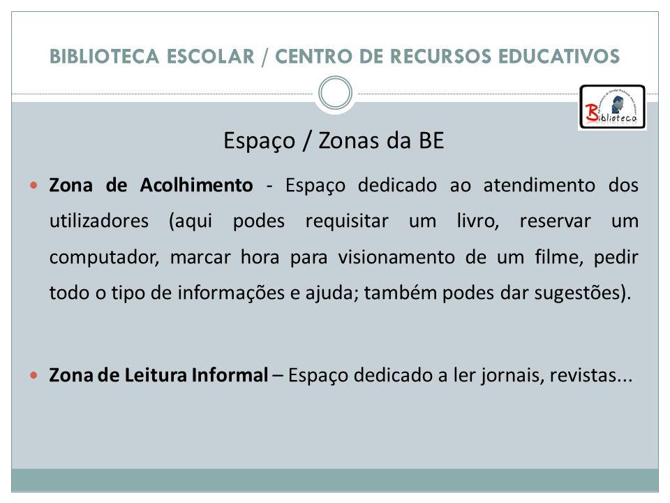 BIBLIOTECA ESCOLAR / CENTRO DE RECURSOS EDUCATIVOS Espaço / Zonas da BE Zona de Acolhimento - Espaço dedicado ao atendimento dos utilizadores (aqui po