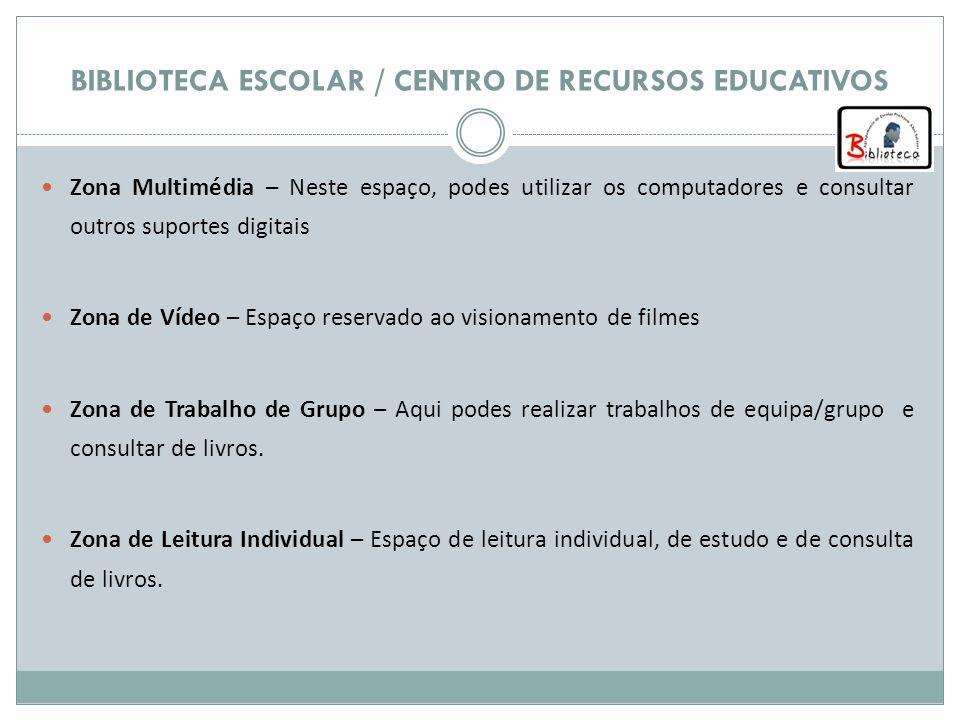 BIBLIOTECA ESCOLAR / CENTRO DE RECURSOS EDUCATIVOS Zona Multimédia – Neste espaço, podes utilizar os computadores e consultar outros suportes digitais