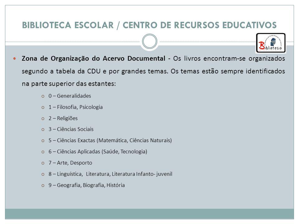 BIBLIOTECA ESCOLAR / CENTRO DE RECURSOS EDUCATIVOS Zona de Organização do Acervo Documental - Os livros encontram-se organizados segundo a tabela da CDU e por grandes temas.