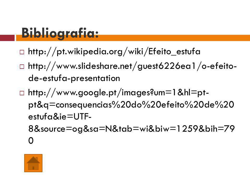 Bibliografia: http://pt.wikipedia.org/wiki/Efeito_estufa http://www.slideshare.net/guest6226ea1/o-efeito- de-estufa-presentation http://www.google.pt/images?um=1&hl=pt- pt&q=consequencias%20do%20efeito%20de%20 estufa&ie=UTF- 8&source=og&sa=N&tab=wi&biw=1259&bih=79 0