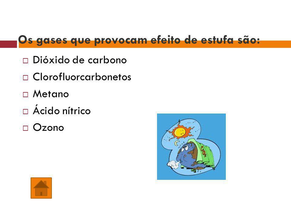 Os gases que provocam efeito de estufa são: Dióxido de carbono Clorofluorcarbonetos Metano Ácido nítrico Ozono