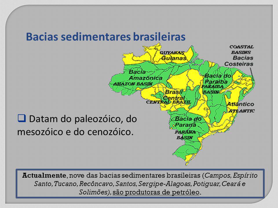 Bacias sedimentares brasileiras Datam do paleozóico, do mesozóico e do cenozóico..