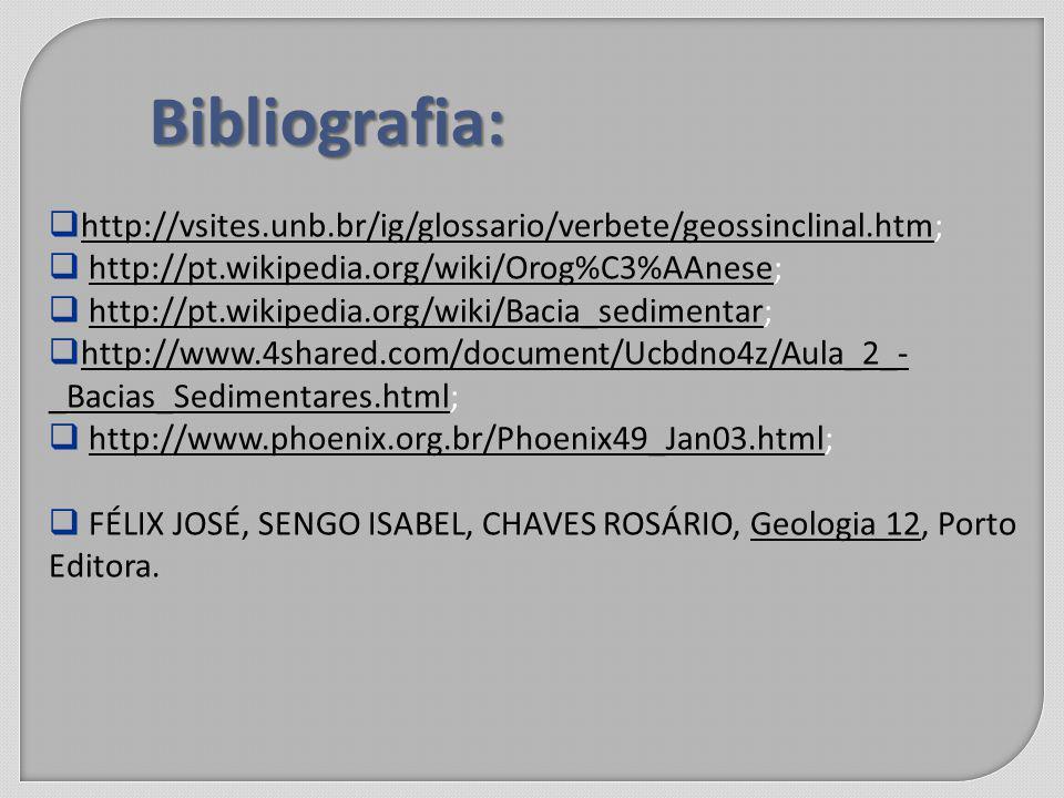 Bibliografia: http://vsites.unb.br/ig/glossario/verbete/geossinclinal.htm; http://vsites.unb.br/ig/glossario/verbete/geossinclinal.htm http://pt.wikipedia.org/wiki/Orog%C3%AAnese;http://pt.wikipedia.org/wiki/Orog%C3%AAnese http://pt.wikipedia.org/wiki/Bacia_sedimentar;http://pt.wikipedia.org/wiki/Bacia_sedimentar http://www.4shared.com/document/Ucbdno4z/Aula_2_- _Bacias_Sedimentares.html; http://www.4shared.com/document/Ucbdno4z/Aula_2_- _Bacias_Sedimentares.html http://www.phoenix.org.br/Phoenix49_Jan03.html;http://www.phoenix.org.br/Phoenix49_Jan03.html FÉLIX JOSÉ, SENGO ISABEL, CHAVES ROSÁRIO, Geologia 12, Porto Editora.