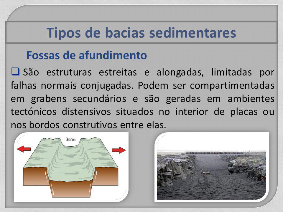 Tipos de bacias sedimentares Fossas de afundimento São estruturas estreitas e alongadas, limitadas por falhas normais conjugadas.