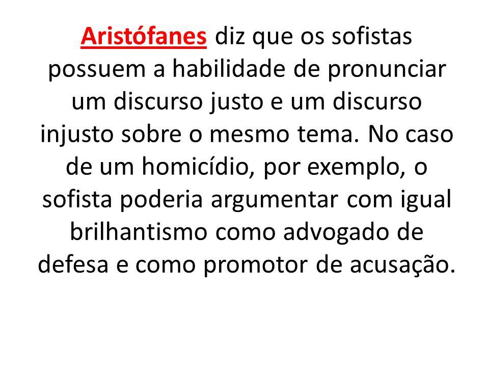 Aristófanes diz que os sofistas possuem a habilidade de pronunciar um discurso justo e um discurso injusto sobre o mesmo tema. No caso de um homicídio