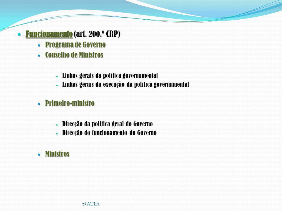 Funcionamento Funcionamento (art. 200.º CRP) Programa de Governo Programa de Governo Conselho de Ministros Conselho de Ministros Linhas gerais da polí