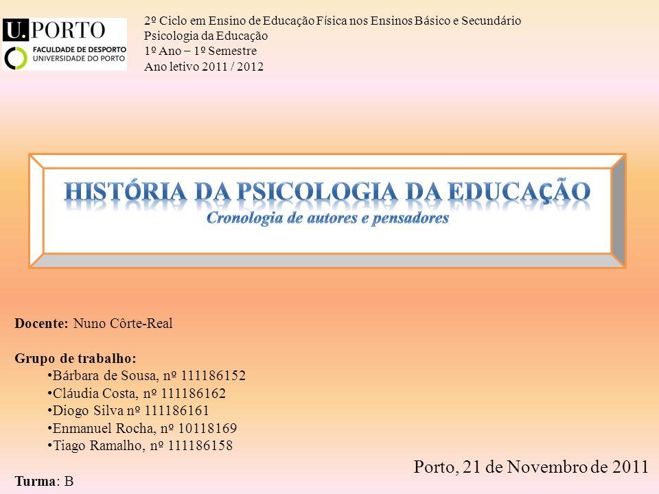 2 º Ciclo em Ensino de Educa ç ão F í sica nos Ensinos B á sico e Secund á rio Psicologia da Educa ç ão 1 º Ano – 1 º Semestre Ano letivo 2011 / 2012