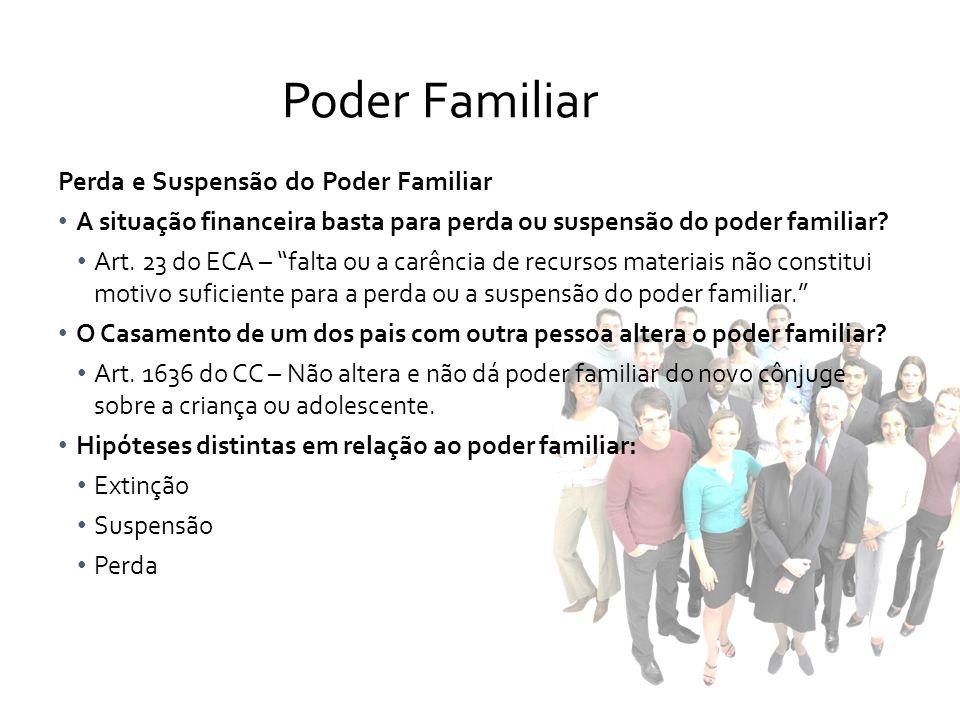 Perda e Suspensão do Poder Familiar A situação financeira basta para perda ou suspensão do poder familiar? Art. 23 do ECA – falta ou a carência de rec