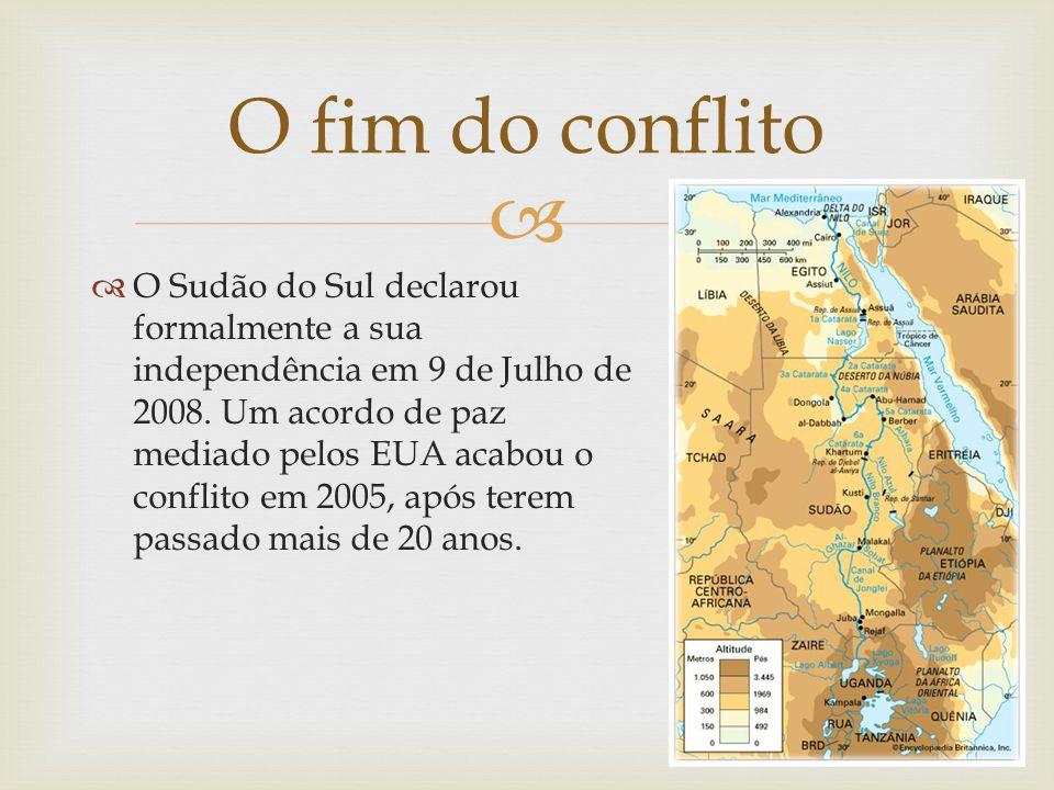 O Sudão do Sul declarou formalmente a sua independência em 9 de Julho de 2008. Um acordo de paz mediado pelos EUA acabou o conflito em 2005, após tere