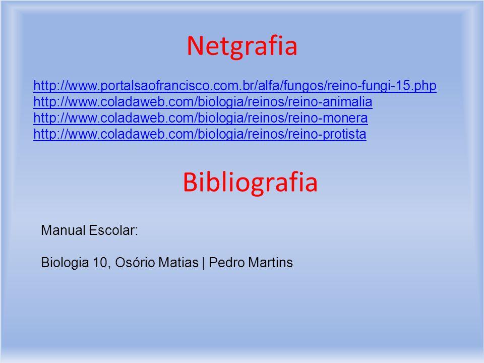 Netgrafia http://www.portalsaofrancisco.com.br/alfa/fungos/reino-fungi-15.php http://www.coladaweb.com/biologia/reinos/reino-animalia http://www.coladaweb.com/biologia/reinos/reino-monera http://www.coladaweb.com/biologia/reinos/reino-protista Bibliografia Manual Escolar: Biologia 10, Osório Matias   Pedro Martins