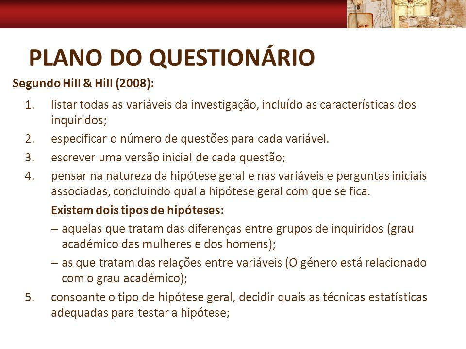 PLANO DO QUESTIONÁRIO 1.listar todas as variáveis da investigação, incluído as características dos inquiridos; 2.especificar o número de questões para