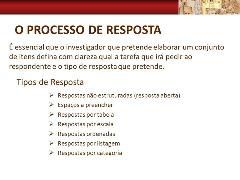 O PROCESSO DE RESPOSTA Respostas não estruturadas (resposta aberta) Espaços a preencher Respostas por tabela Respostas por escala Respostas ordenadas