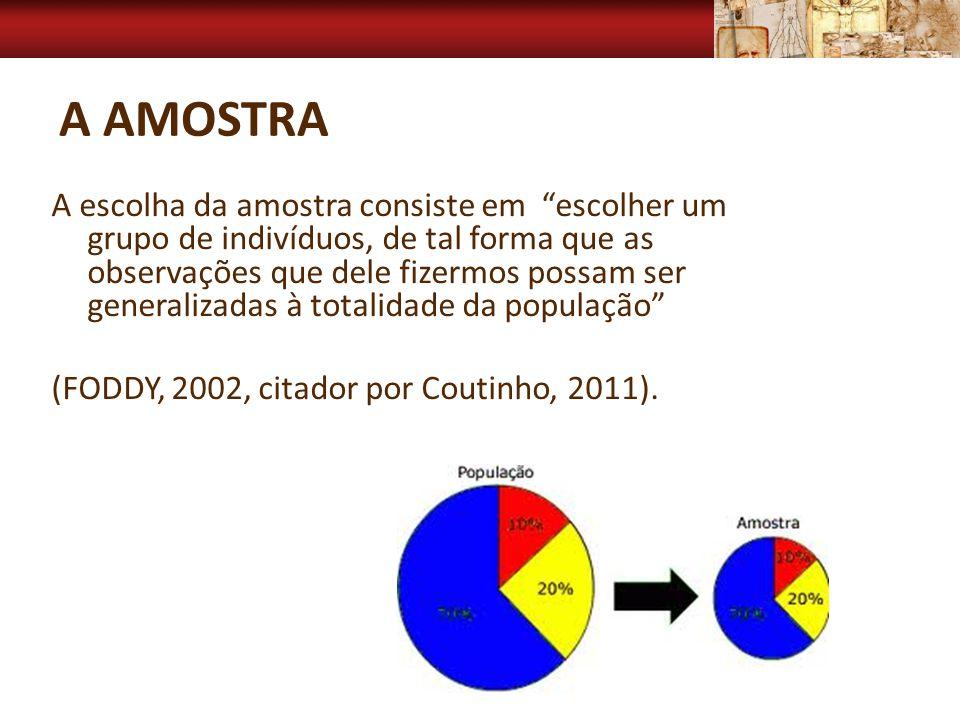 A AMOSTRA A escolha da amostra consiste em escolher um grupo de indivíduos, de tal forma que as observações que dele fizermos possam ser generalizadas