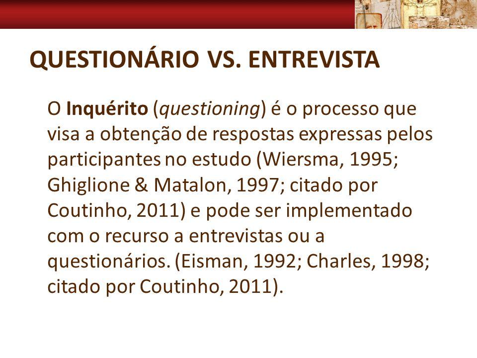 QUESTIONÁRIO VS. ENTREVISTA O Inquérito (questioning) é o processo que visa a obtenção de respostas expressas pelos participantes no estudo (Wiersma,