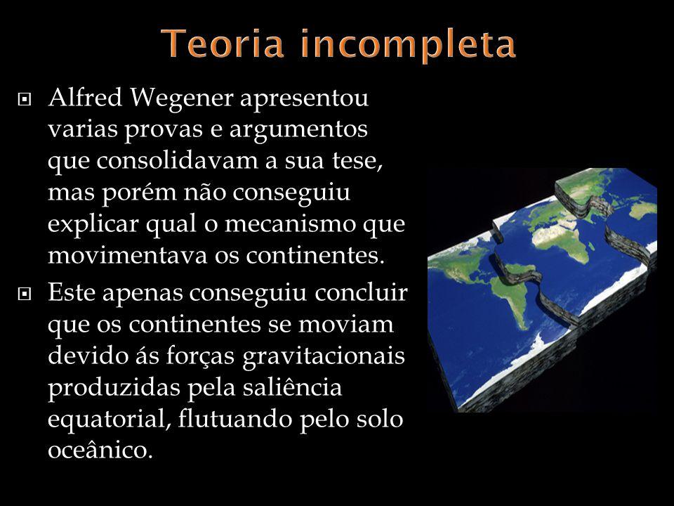 Alfred Wegener apresentou varias provas e argumentos que consolidavam a sua tese, mas porém não conseguiu explicar qual o mecanismo que movimentava os continentes.