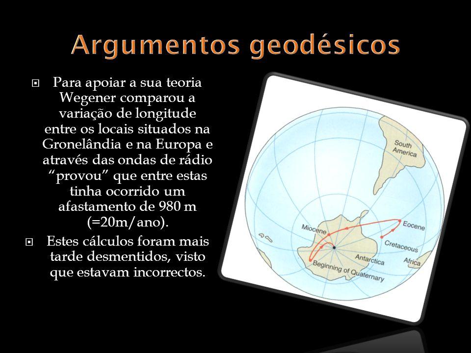 Para apoiar a sua teoria Wegener comparou a variação de longitude entre os locais situados na Gronelândia e na Europa e através das ondas de rádio provou que entre estas tinha ocorrido um afastamento de 980 m (=20m/ano).