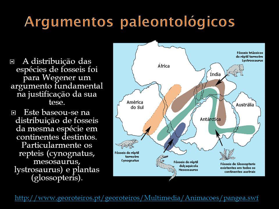 A distribuição das espécies de fosseis foi para Wegener um argumento fundamental na justificação da sua tese. Este baseou-se na distribuição de fossei