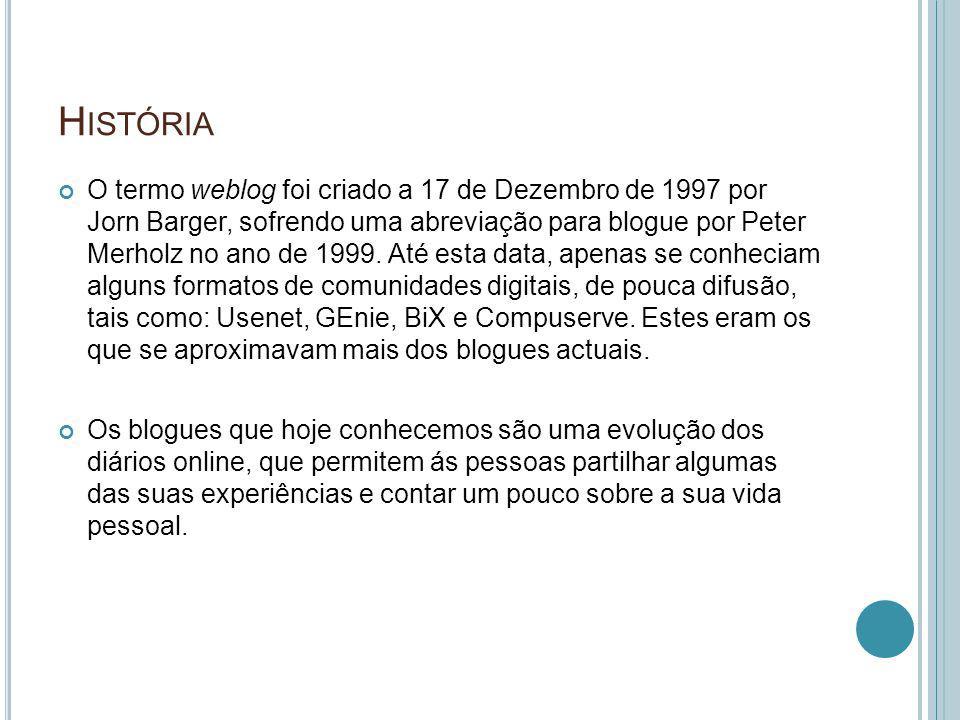 H ISTÓRIA O termo weblog foi criado a 17 de Dezembro de 1997 por Jorn Barger, sofrendo uma abreviação para blogue por Peter Merholz no ano de 1999. At