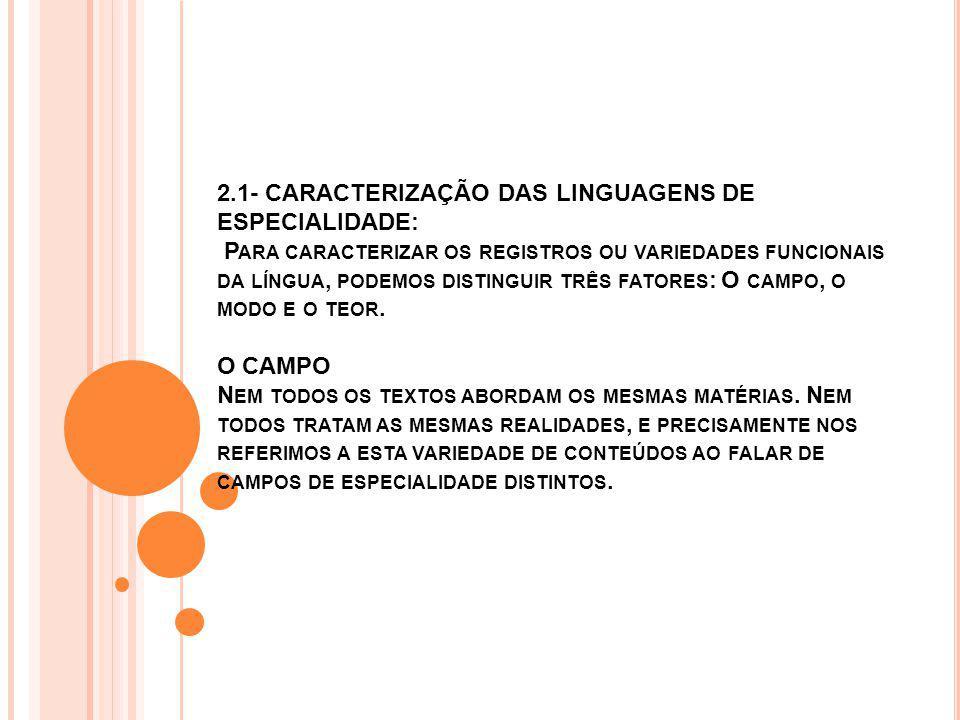 2.1- CARACTERIZAÇÃO DAS LINGUAGENS DE ESPECIALIDADE: P ARA CARACTERIZAR OS REGISTROS OU VARIEDADES FUNCIONAIS DA LÍNGUA, PODEMOS DISTINGUIR TRÊS FATORES : O CAMPO, O MODO E O TEOR.