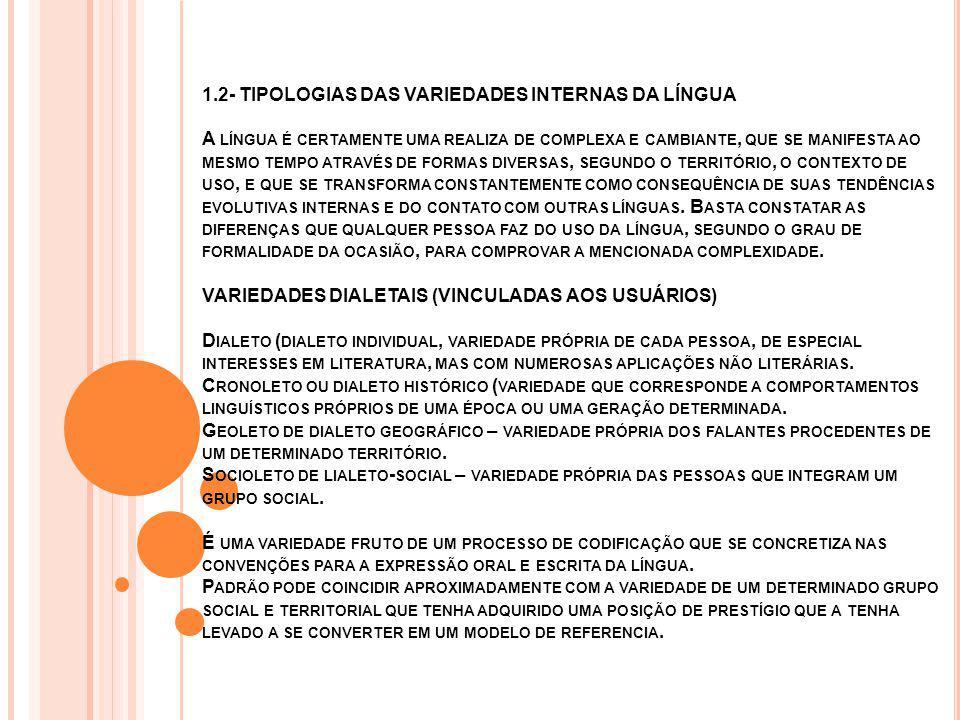 1.2- TIPOLOGIAS DAS VARIEDADES INTERNAS DA LÍNGUA A LÍNGUA É CERTAMENTE UMA REALIZA DE COMPLEXA E CAMBIANTE, QUE SE MANIFESTA AO MESMO TEMPO ATRAVÉS DE FORMAS DIVERSAS, SEGUNDO O TERRITÓRIO, O CONTEXTO DE USO, E QUE SE TRANSFORMA CONSTANTEMENTE COMO CONSEQUÊNCIA DE SUAS TENDÊNCIAS EVOLUTIVAS INTERNAS E DO CONTATO COM OUTRAS LÍNGUAS.