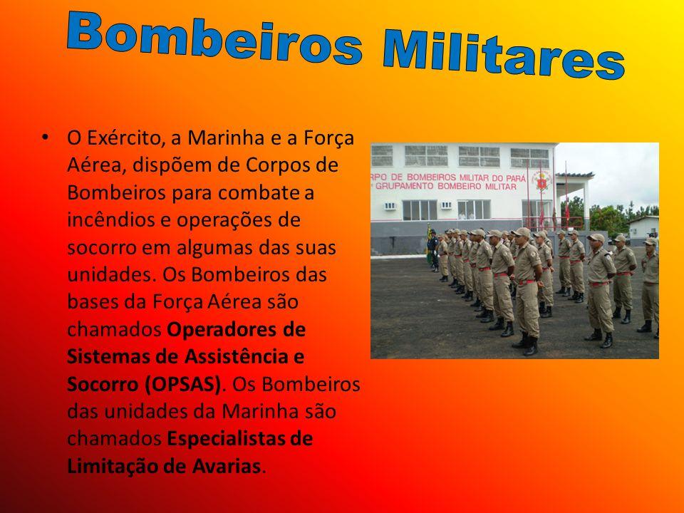 O Exército, a Marinha e a Força Aérea, dispõem de Corpos de Bombeiros para combate a incêndios e operações de socorro em algumas das suas unidades. Os