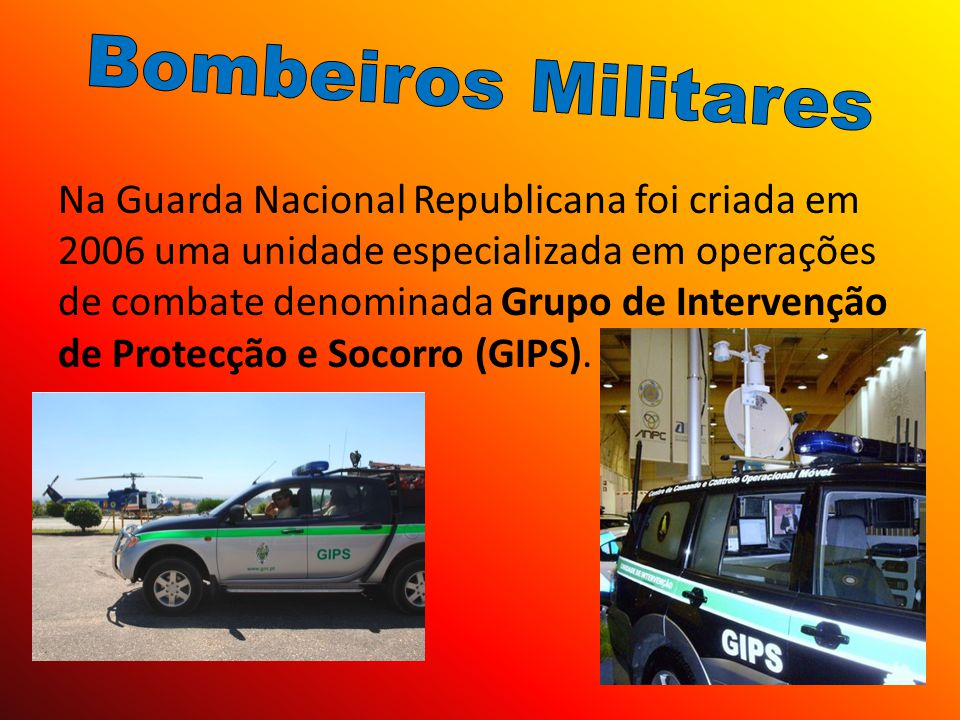 Na Guarda Nacional Republicana foi criada em 2006 uma unidade especializada em operações de combate denominada Grupo de Intervenção de Protecção e Soc