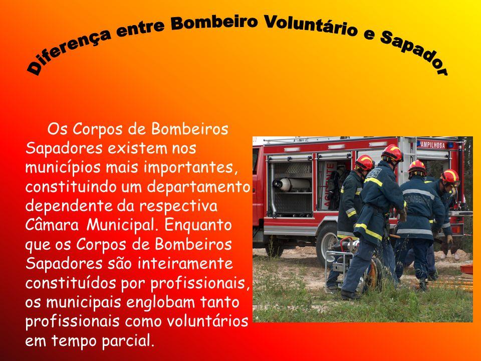 Os Corpos de Bombeiros Sapadores existem nos municípios mais importantes, constituindo um departamento dependente da respectiva Câmara Municipal. Enqu