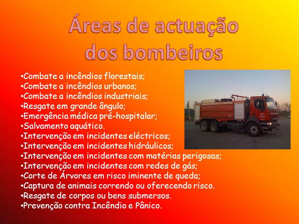 Veículos de socorro e luta contra incêndios: Veículos de combate a incêndios (ligeiros, urbanos, rurais, florestais e especiais); Veículos tanque tácticos (urbanos, rurais e florestais); Veículos tanque de grande capacidade; Veículos com equipamento técnico de apoio; Veículos de apoio alimentar; Veículos de apoio a mergulhadores; Veículos com escada giratória; Veículos com plataforma giratória; Veículos de socorro e assistência; Veículos de protecção multirriscos; Veículos de comando táctico; Veículos de comando e comunicações; Veículos de gestão estratégica e operações; Veículos de transporte de pessoal (táctico e geral); Veículos para operações específicas