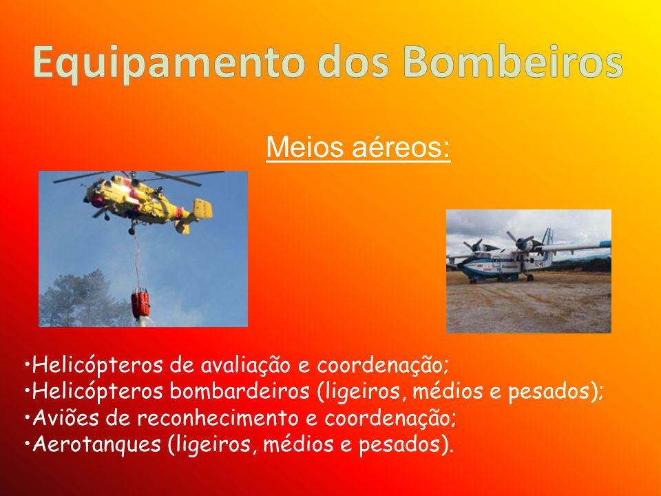 Helicópteros de avaliação e coordenação; Helicópteros bombardeiros (ligeiros, médios e pesados); Aviões de reconhecimento e coordenação; Aerotanques (