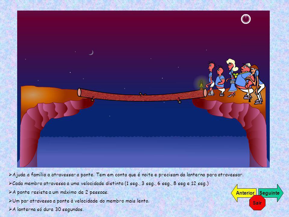 Ajuda a família a atravessar a ponte. Tem em conta que é noite e precisam da lanterna para atravessar. Cada membro atravessa a uma velocidade distinta