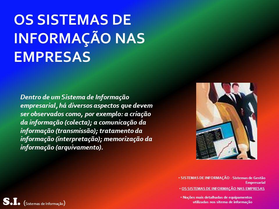 S.I. ( Sistemas de Informação ) OS SISTEMAS DE INFORMAÇÃO NAS EMPRESAS Dentro de um Sistema de Informação empresarial, há diversos aspectos que devem