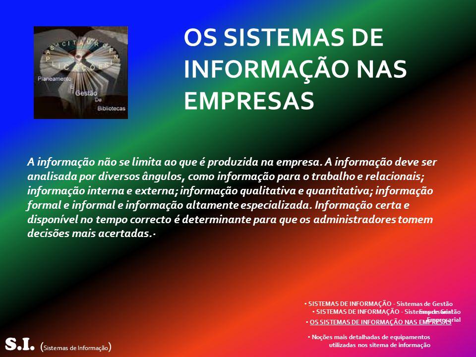 S.I. ( Sistemas de Informação ) Noções mais detalhadas de equipamentos utilizadas nos sitema de informação OS SISTEMAS DE INFORMAÇÃO NAS EMPRESAS SIST