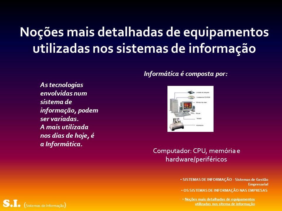 S.I. ( Sistemas de Informação ) SISTEMAS DE INFORMAÇÃO - Sistemas de Gestão Empresarial OS SISTEMAS DE INFORMAÇÃO NAS EMPRESAS Noções mais detalhadas