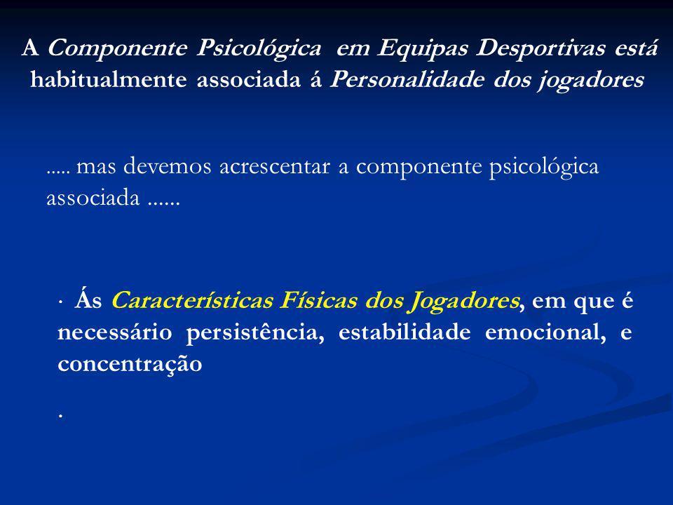 A Componente Psicológica em Equipas Desportivas está habitualmente associada á Personalidade dos jogadores.....