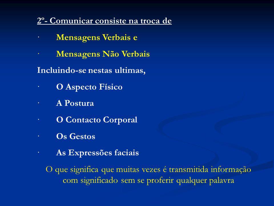 2º- Comunicar consiste na troca de · Mensagens Verbais e · Mensagens Não Verbais Incluindo-se nestas ultimas, · O Aspecto Físico · A Postura · O Contacto Corporal · Os Gestos · As Expressões faciais O que significa que muitas vezes é transmitida informação com significado sem se proferir qualquer palavra