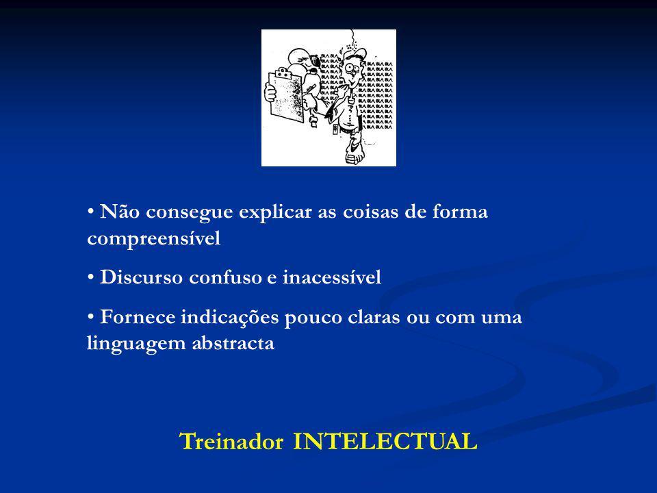 Treinador INTELECTUAL Não consegue explicar as coisas de forma compreensível Discurso confuso e inacessível Fornece indicações pouco claras ou com uma linguagem abstracta