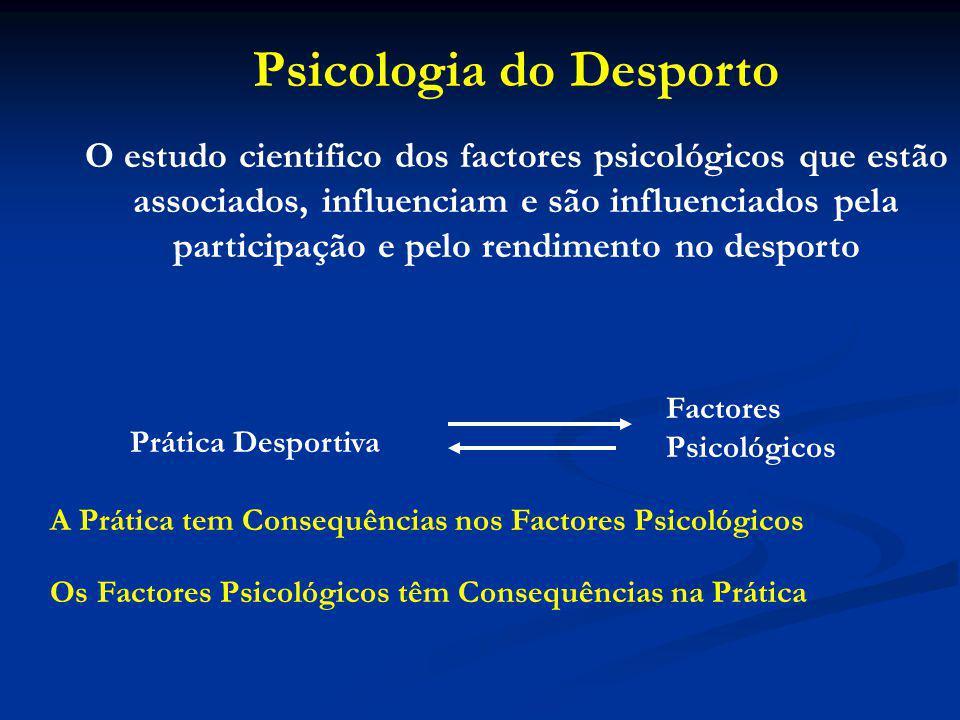 Psicologia do Desporto O estudo cientifico dos factores psicológicos que estão associados, influenciam e são influenciados pela participação e pelo rendimento no desporto Prática Desportiva Factores Psicológicos A Prática tem Consequências nos Factores Psicológicos Os Factores Psicológicos têm Consequências na Prática