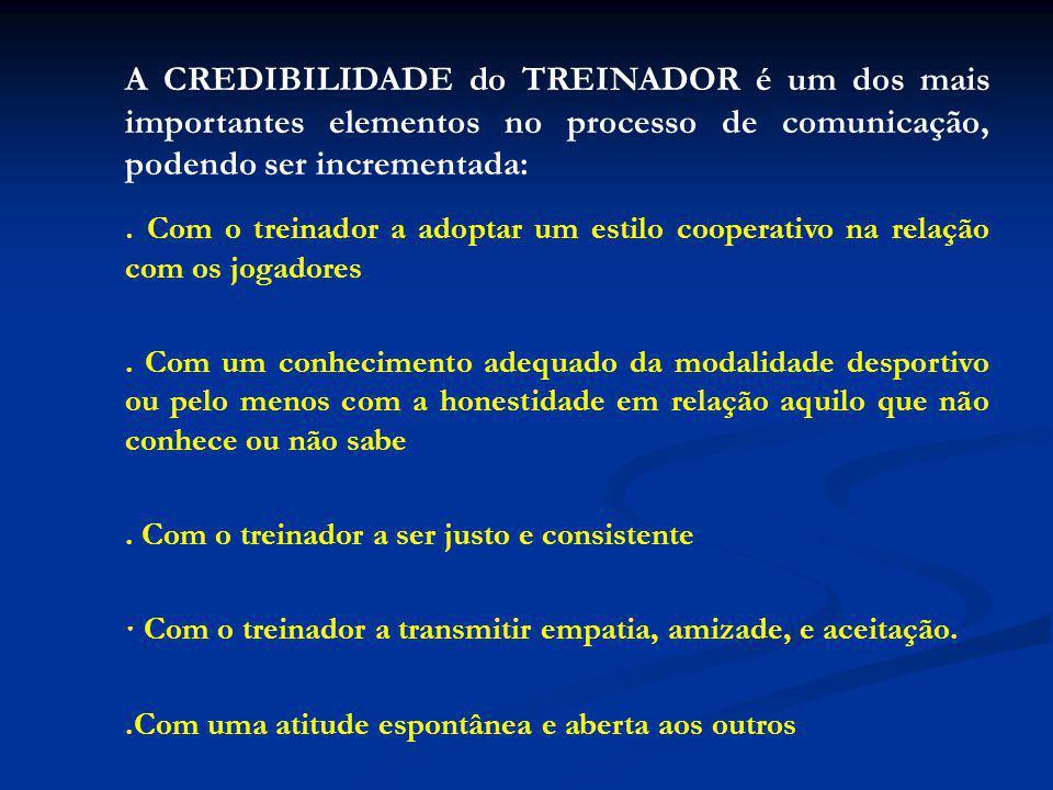 A CREDIBILIDADE do TREINADOR é um dos mais importantes elementos no processo de comunicação, podendo ser incrementada:.