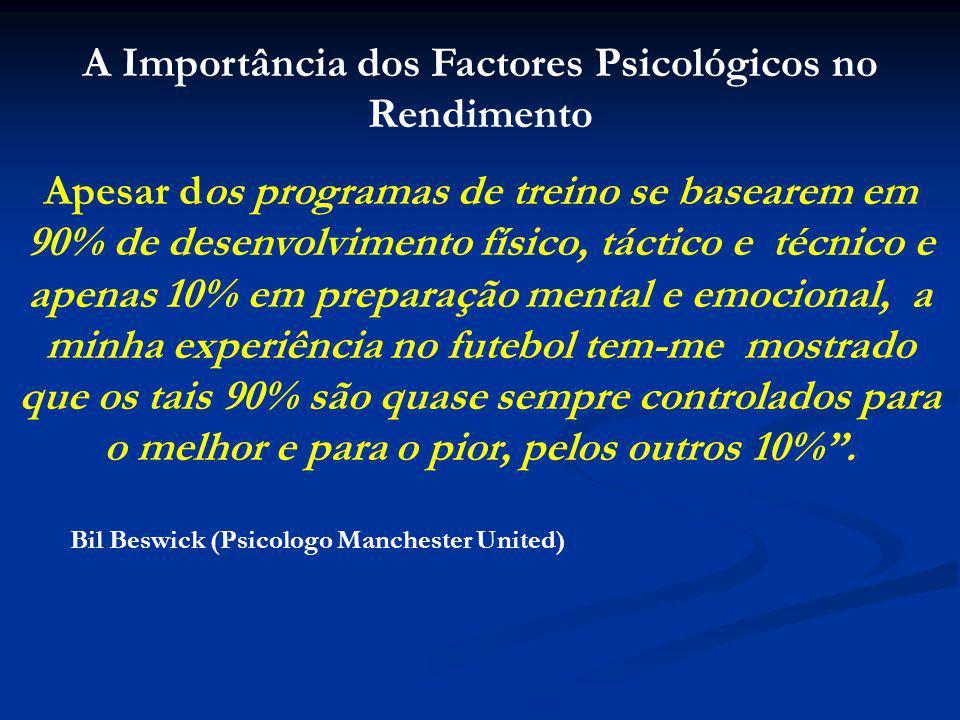 CONCLUSÃO: A Componente Psicológica não é Mais um dos Factores do Rendimento Desportivo, a juntar aos restantes.......