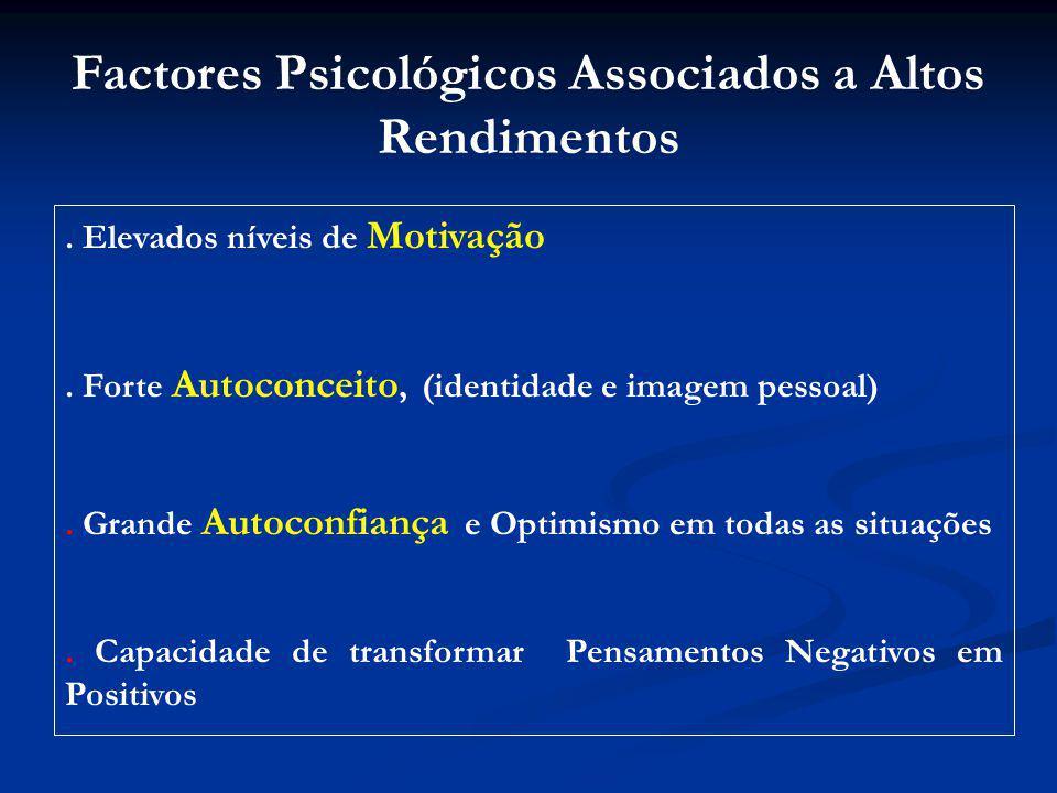Factores Psicológicos Associados a Altos Rendimentos.